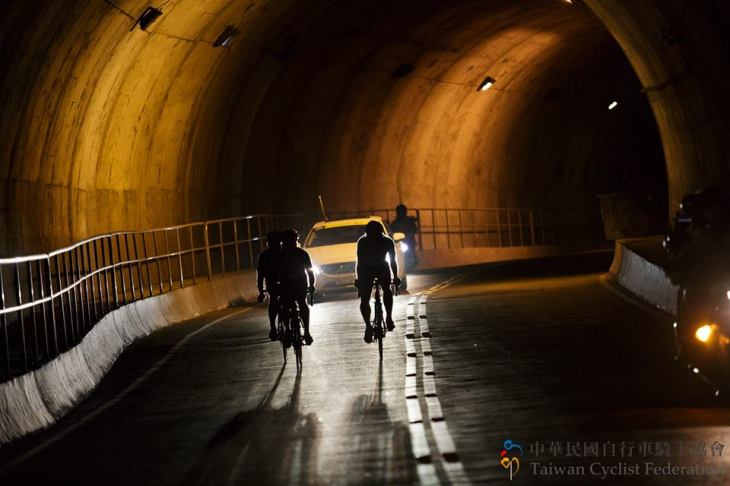 riders in a break in one of the many tunnels