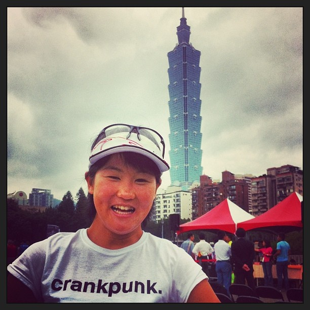 Eri Yonamine, who is 2013 Japanese RR, ITT and MTB champion, styling in the cp tee in Taipei