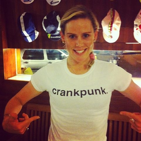 Tiffany Cromwell, winner of the 2013 Omloop Het Nieuwsblad classic and a stage at the women's Giro, resplendent in her crankpunk tee
