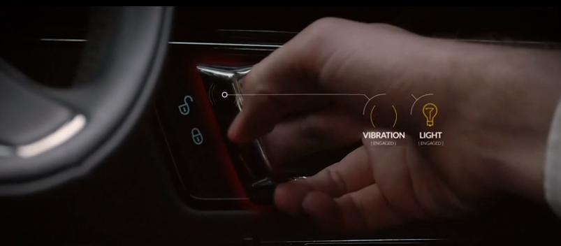 The door handle vibrates to stop you opening the door when a rider is passing